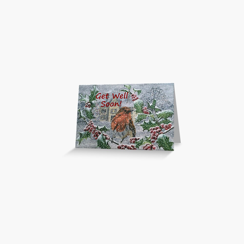 Robin in Snow - Get Well Soon Card Greeting Card