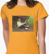 Sketching Under The Red Maple (Close-up) Womens Fitted T-Shirt