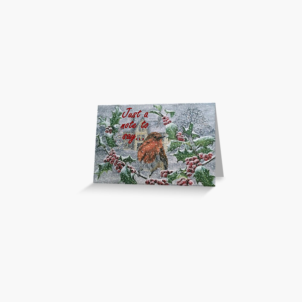 Robin in Snow - Just a Note to Say... Card Greeting Card