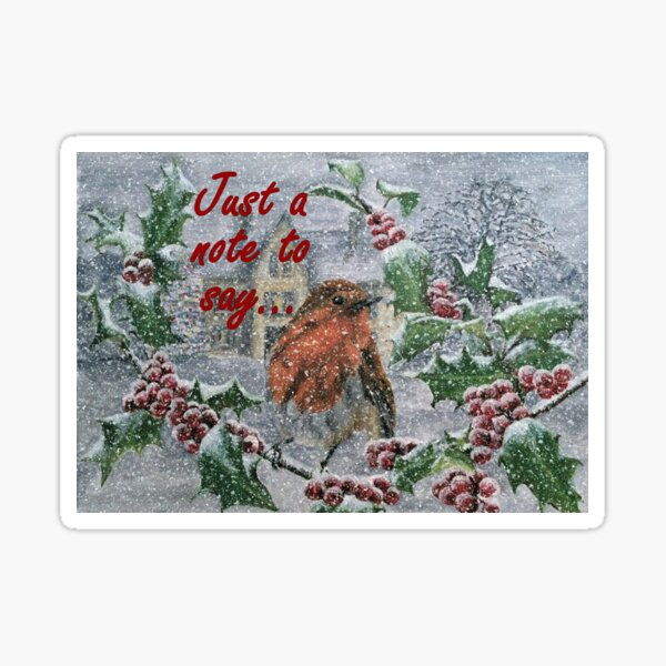 Robin in Snow - Just a Note to Say... Card Sticker
