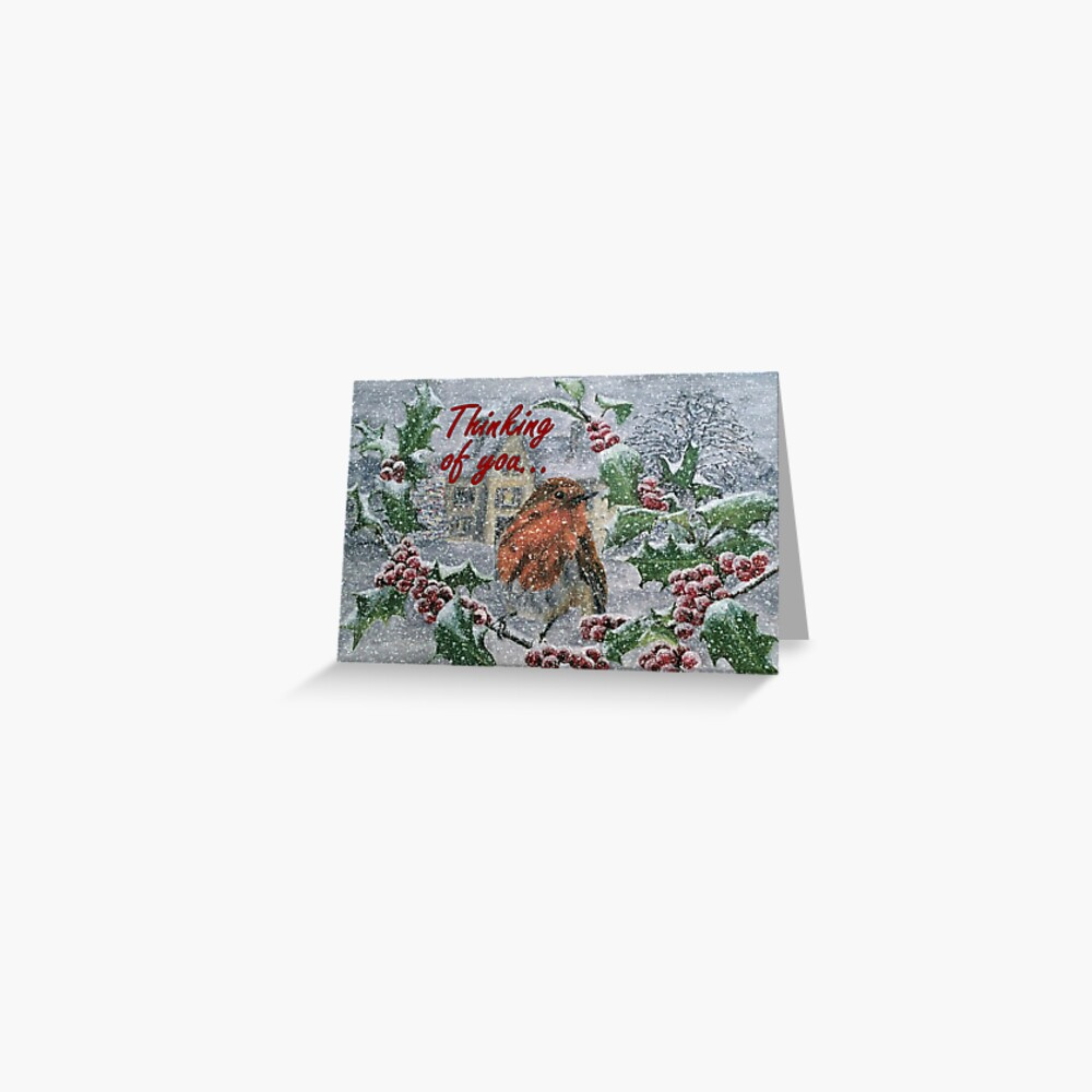 Robin in Snow - Thinking of You Card Greeting Card