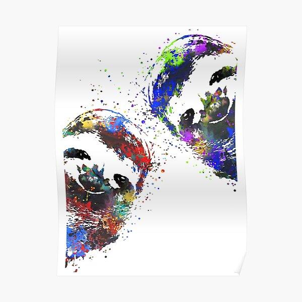 Sloth peeking, sloth, watercolor sloth Poster