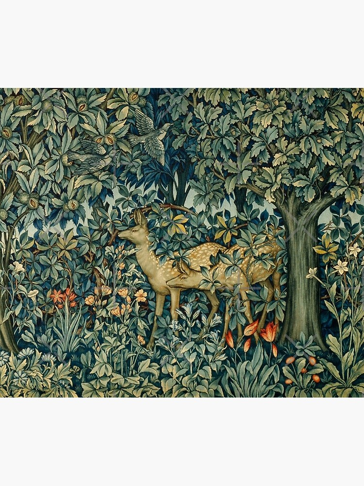 GREENERY,TWO DOES AND BIRDS IN FOREST Blue  Green Floral Tapestry by BulganLumini