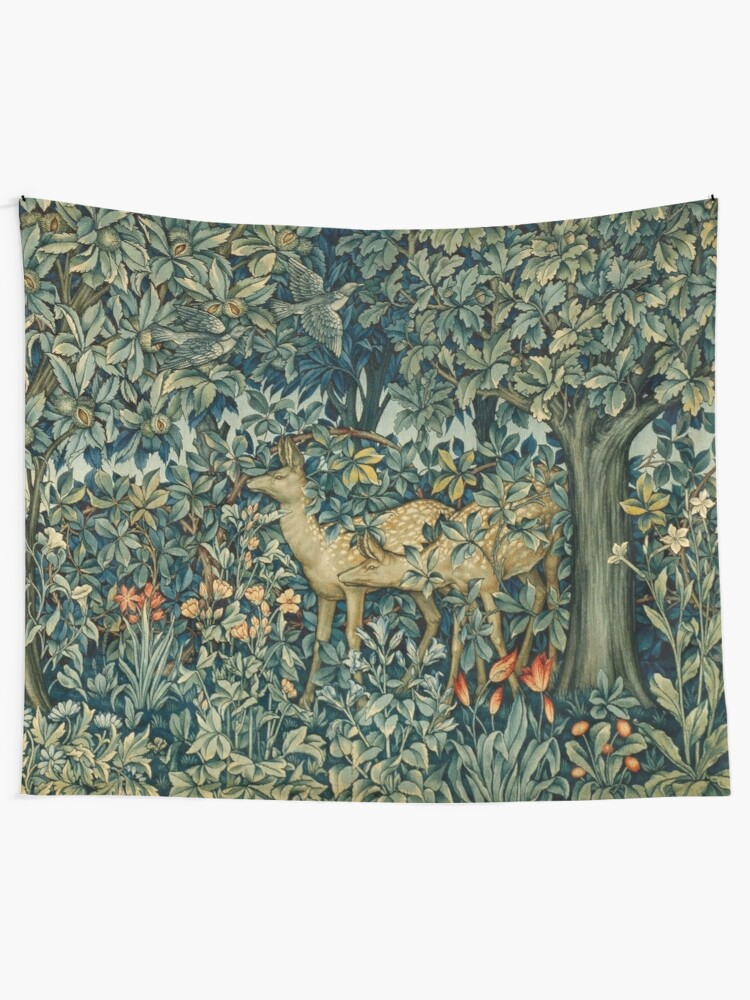 Alternate view of GREENERY,TWO DOES AND BIRDS IN FOREST Blue  Green Floral Tapestry Tapestry