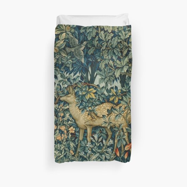 GREENERY,TWO DOES AND BIRDS IN FOREST Blue  Green Floral Tapestry Duvet Cover