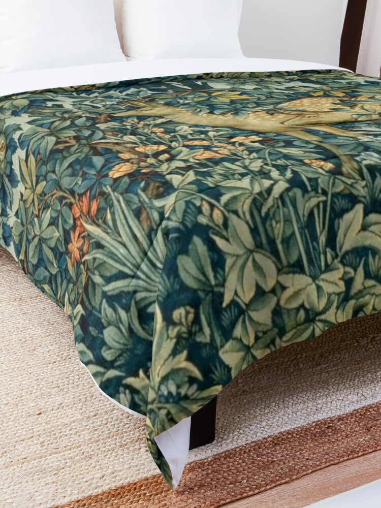 Alternate view of GREENERY,TWO DOES AND BIRDS IN FOREST Blue  Green Floral Tapestry Comforter