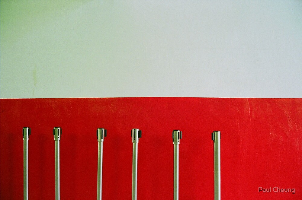 white and red and some poles by Paul Cheung