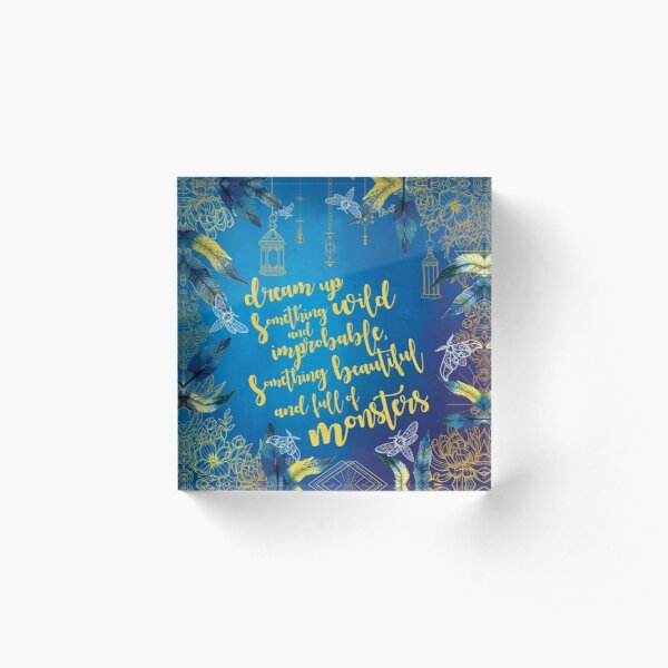Strange the Dreamer by Laini Taylor - Quote Inspired Illustration Acrylic Block