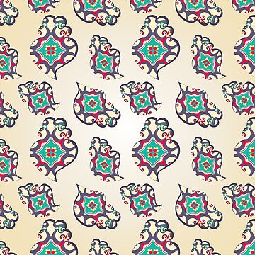 Paisley heart seamless pattern by AnaMOMarques