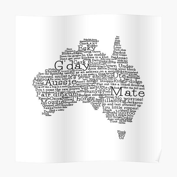 Australian slang map Poster