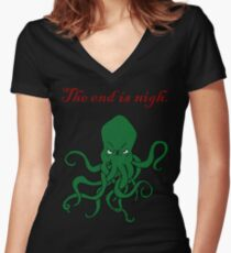 Cthulhu - The End Is Nigh Women's Fitted V-Neck T-Shirt