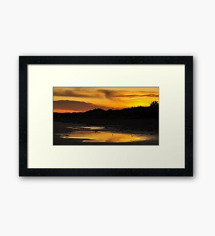 Amber Sunset on Donabate Strand. Framed Print