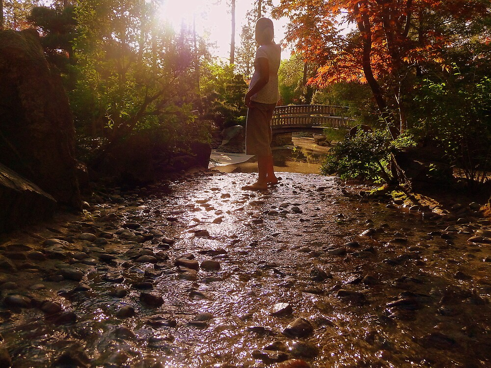 Girl Standing in Stream - Japanese Garden by atoth