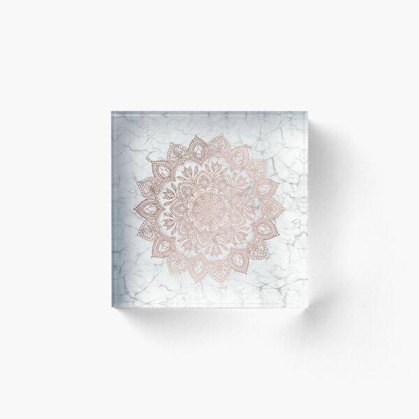 Boho Mandala - Rosegold on Marble Acrylic Block