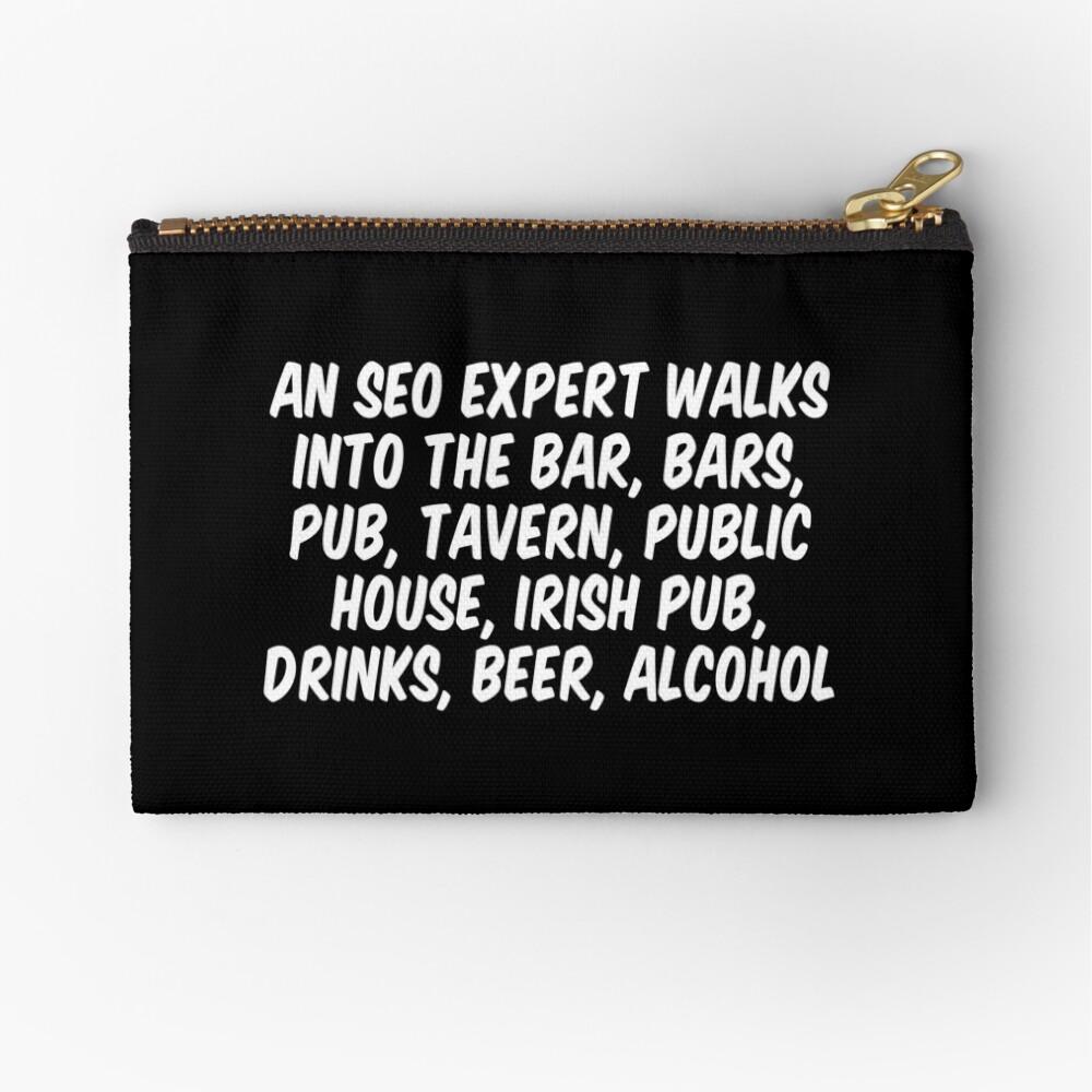 Ein SEO-Experte betritt die Bar, Bars, Kneipe, Taverne, öffentliches Haus, Irish Pub, Getränke, Bier und Alkohol Täschchen