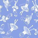 Ballet Class Blue and white  by Robyn Hammond