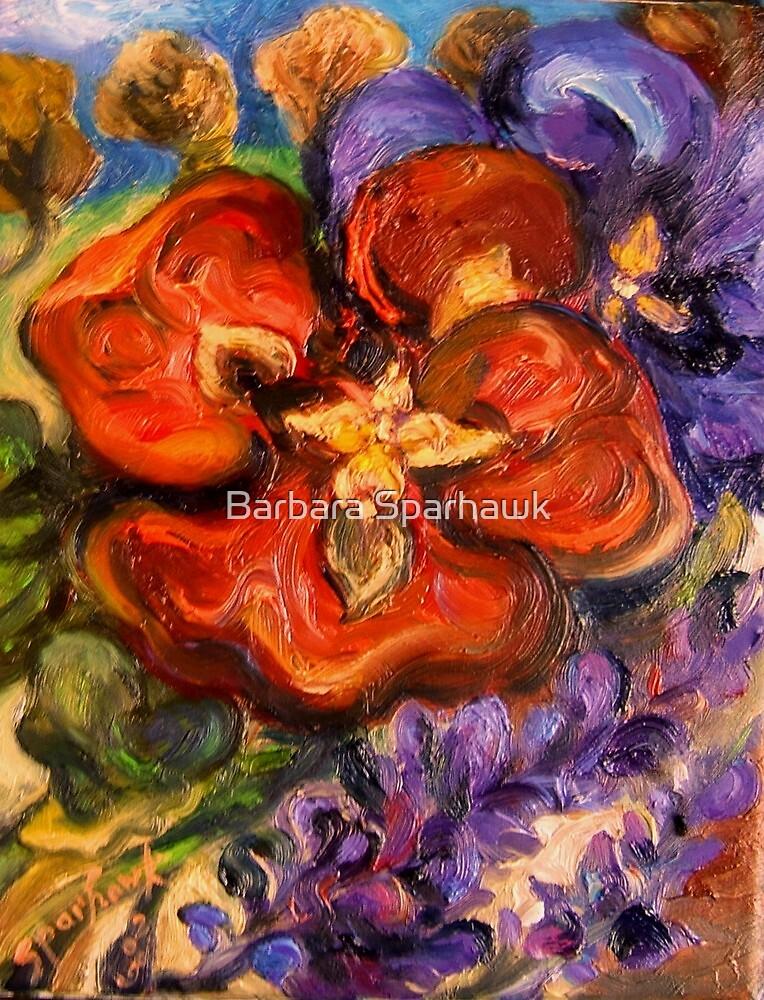 Pansies, Lavender, Orchard - Big Sur,SOLD 6/25/10 by Barbara Sparhawk