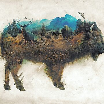 Buffalo Bison Nature Surrealism by barrettbiggers