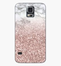 Rose Gold Sparkling Glitter on Black and White Real Marble Case/Skin for Samsung Galaxy