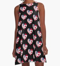 USA Canada Flag Friends Love Heart A-Line Dress