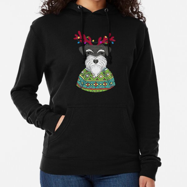 Schnauzer Reindeer Christmas Sweater Lightweight Hoodie