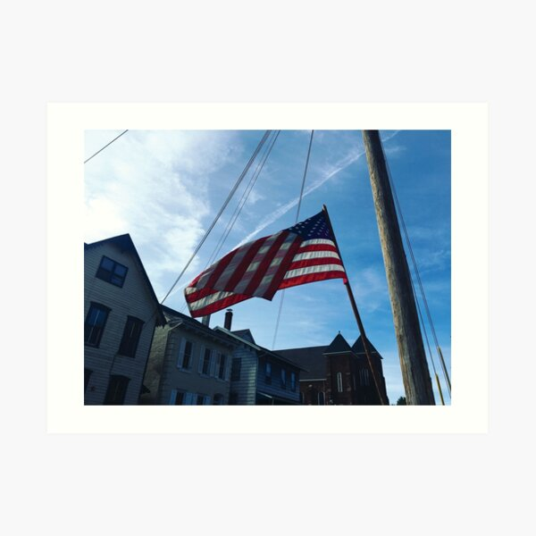 American Flag on Spring Art Print