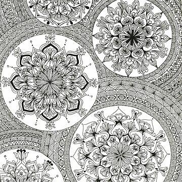 Pattern Black and White Mandala by Gambargombor