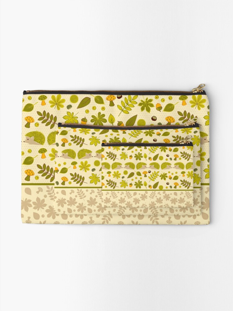 Alternate view of Hedgehogs in the Green Fall Zipper Pouch