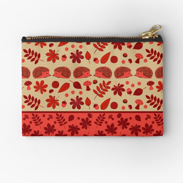 Hedgehogs in the Red Fall Zipper Pouch