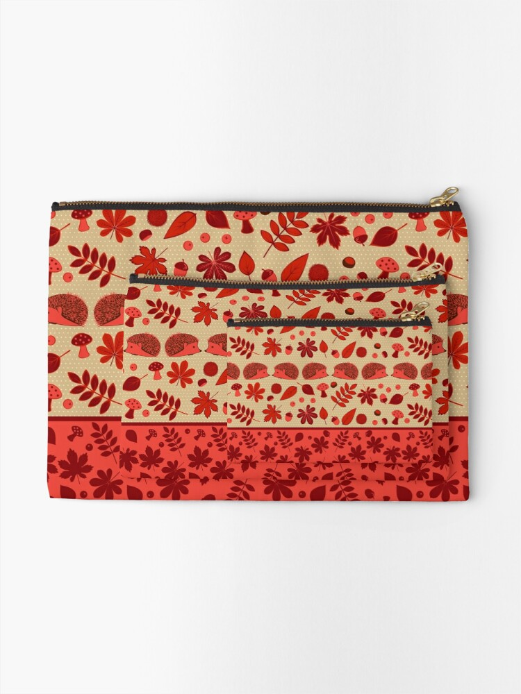 Alternate view of Hedgehogs in the Red Fall Zipper Pouch