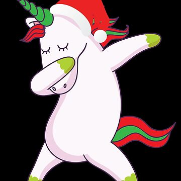 Dabbing Unicorn With Santa Claus Hat Dab Dance Christmas Holiday by BullQuacky