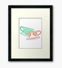Mad Tea Party Teacups - Pink & Green Framed Print