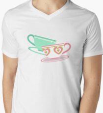 Mad Tea Party Teacups - Pink & Green Men's V-Neck T-Shirt