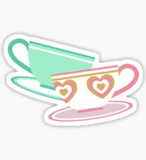 Mad Tea Party Teacups - Pink & Green Sticker