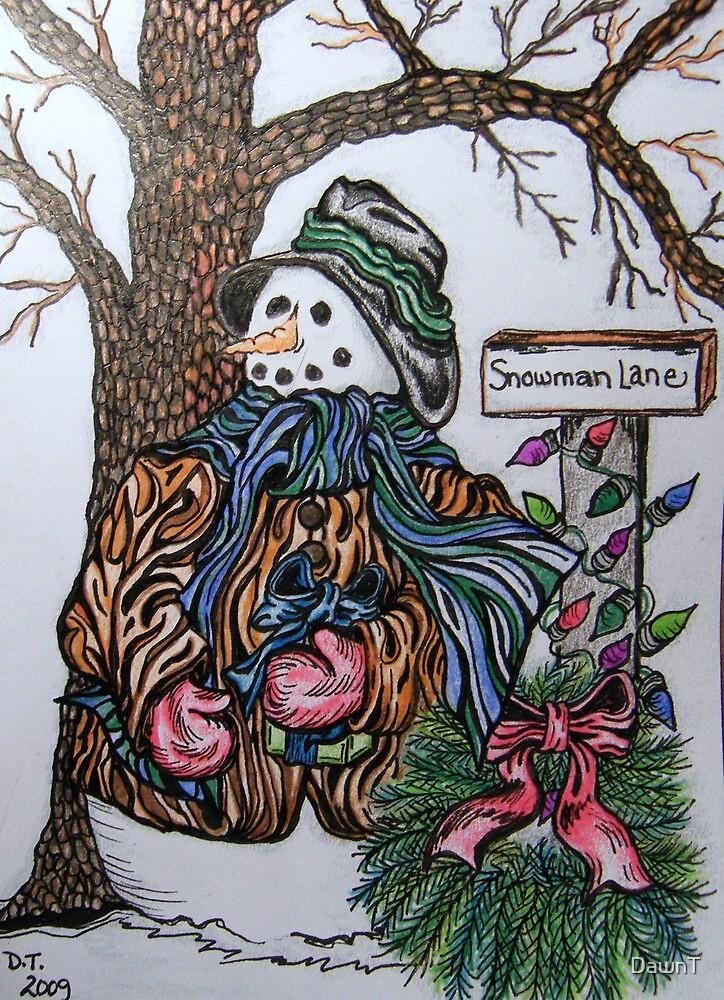Snowman Lane by DawnT
