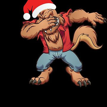 Dabbing Warewolf With Santa Claus Hat Dab Dance Christmas Holiday by BullQuacky