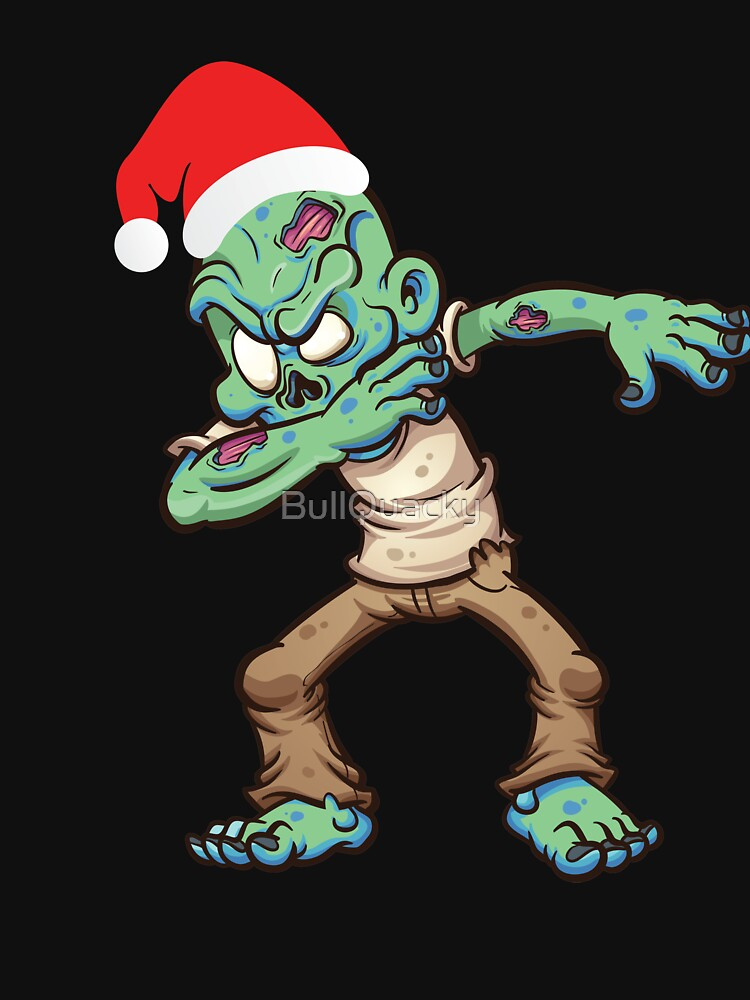 Dabbing Zombie With Santa Claus Hat Dab Dance Christmas Holiday by BullQuacky