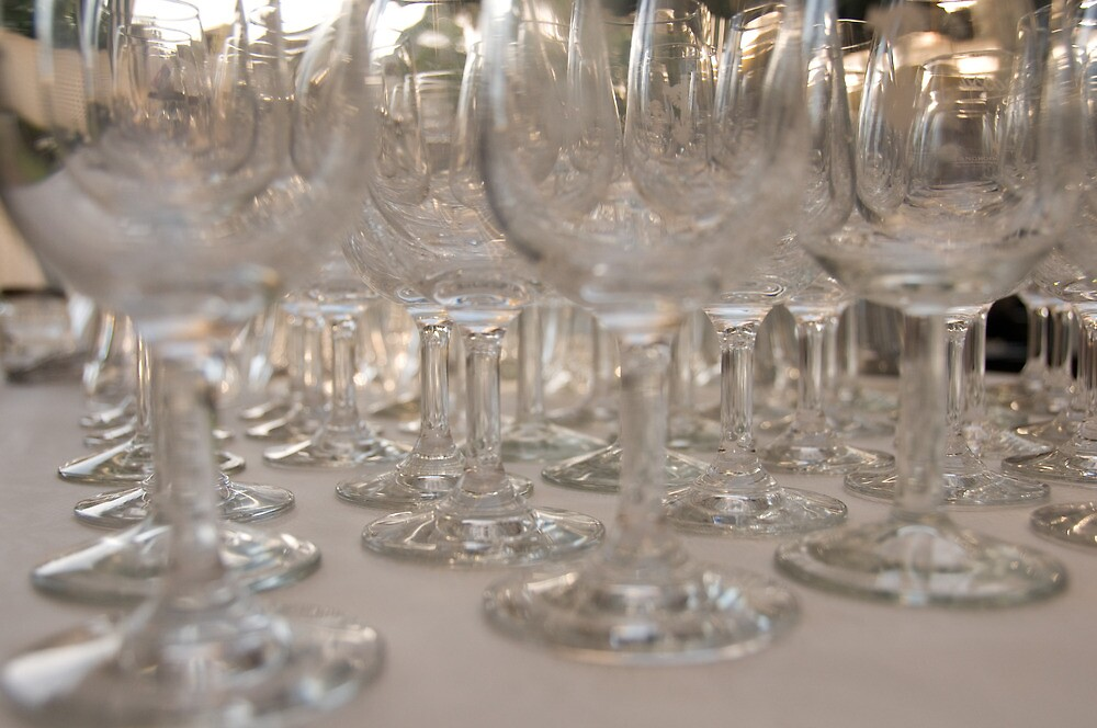 Wineglasses for party by Alex Dundon