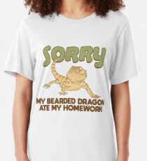 My Bearded Dragon Ate My Homework - Funny Reptile Gift Slim Fit T-Shirt