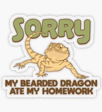 My Bearded Dragon Ate My Homework - Funny Reptile Gift Transparenter Sticker