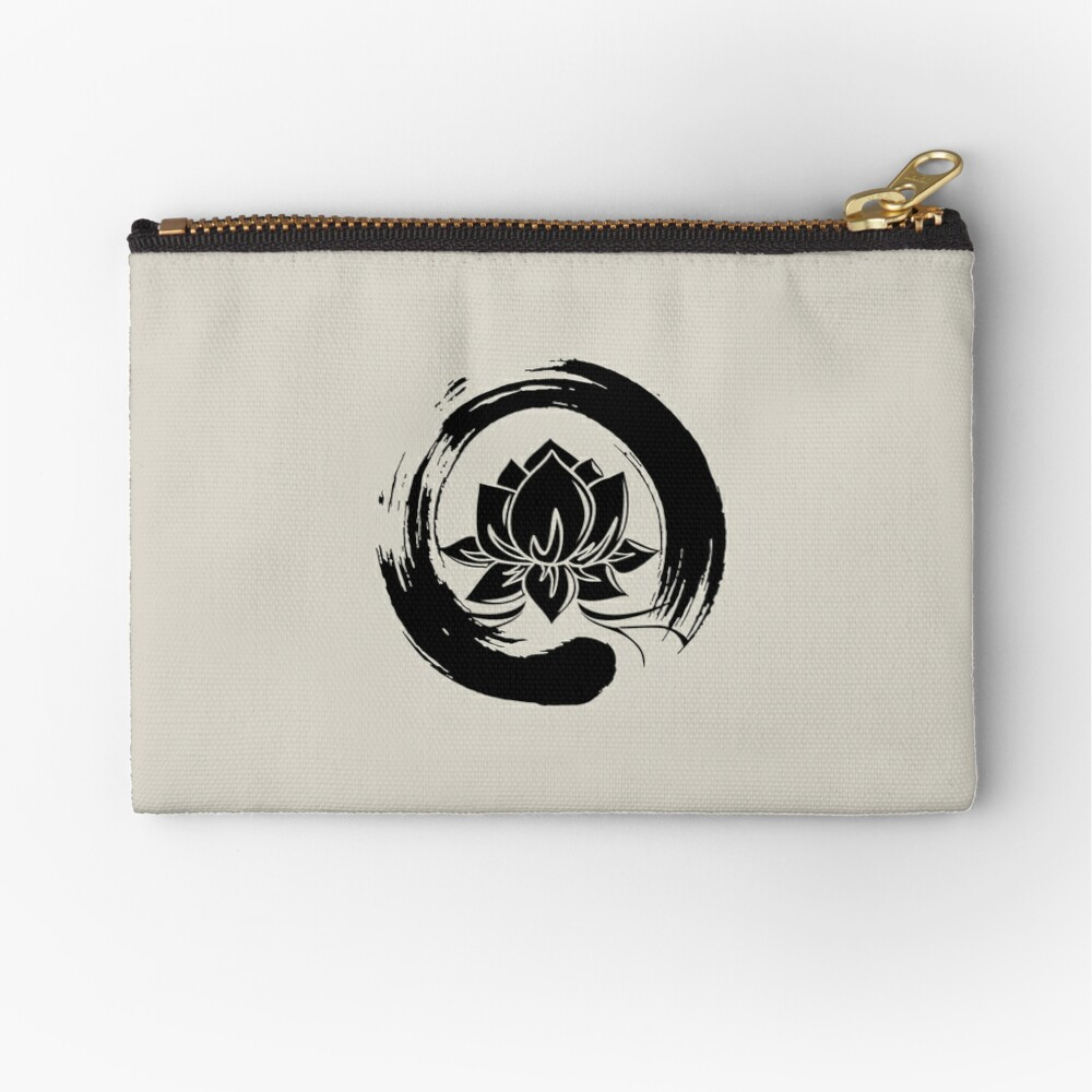 Enso Zen Lotus Zipper Pouch