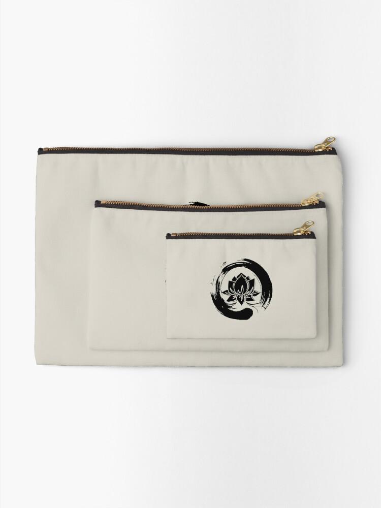 Alternate view of Enso Zen Lotus Zipper Pouch