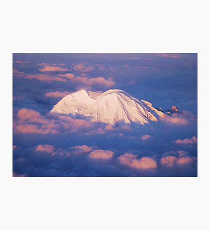 Sunset on Rainier from 33,000 feet Photographic Print