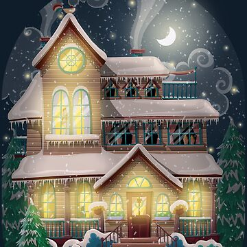 Christmas house in winter night by creaschon