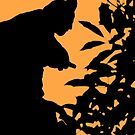 Silhouette against a burnt orange sky by Christine Oakley