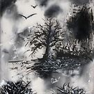 Birds, Tree and Chaos (my painting job) IV  by Antanas