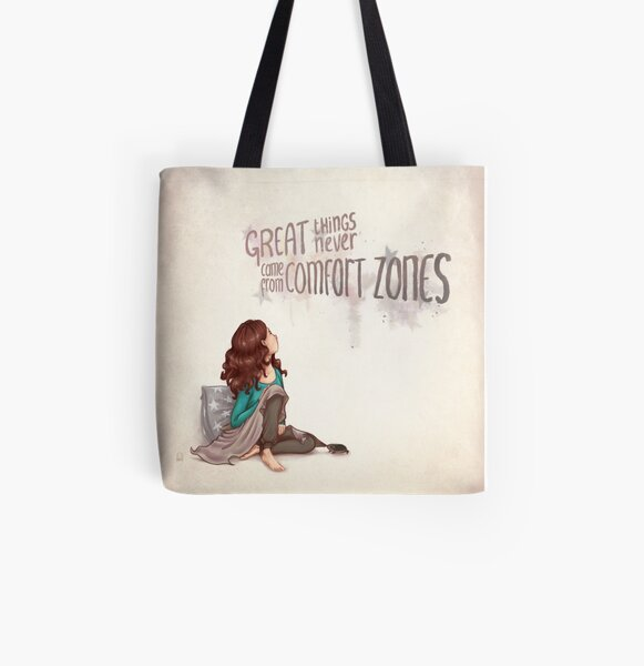 Great things never came from comfortzones All Over Print Tote Bag