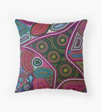 Abstract Dot Painting FAMILY by Dutch Artist Tessa Smits Throw Pillow