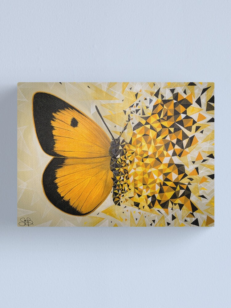 Alternate view of Yellow butterfly geometric explosion Canvas Print