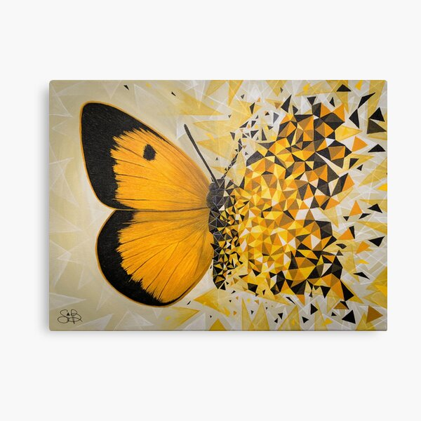 Yellow butterfly geometric explosion Canvas Print